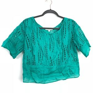Anthro Tracy Reese Lab Green Lace Cut Out Top